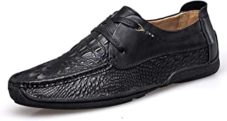 Xujw-shoes, Crocodile Texture Mens Loafers Leather Driving Loafers for Men Solid Color Boat Moccasins Lace Up Style OX Leather Fashion Round Toe Simple Stylish