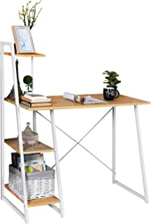 MEUBLE COSY Bureau Informatique Avec Rangement 4 étagères, Table d'ordinateur Poste de Travail, Bureau Enfant chêne , Chên...