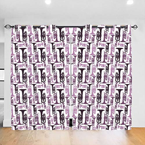 ruziniujidiangongsi Purple Mellophones Blackout Curtains Thermal Insulated Grommet Curtains for Living Room and Bedroom 2 Panels 52 X 84 In