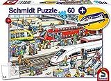 Schmidt Spiele- Am estación de Tren, Incluye Etiqueta de Equipaje de tracción rápida, puzle Infantil de 60 Piezas, Color carbón (56328)