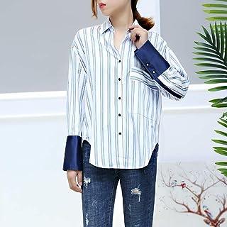 BJH 2018秋季新款韩版时尚休闲百搭条纹方领长袖衬衫女