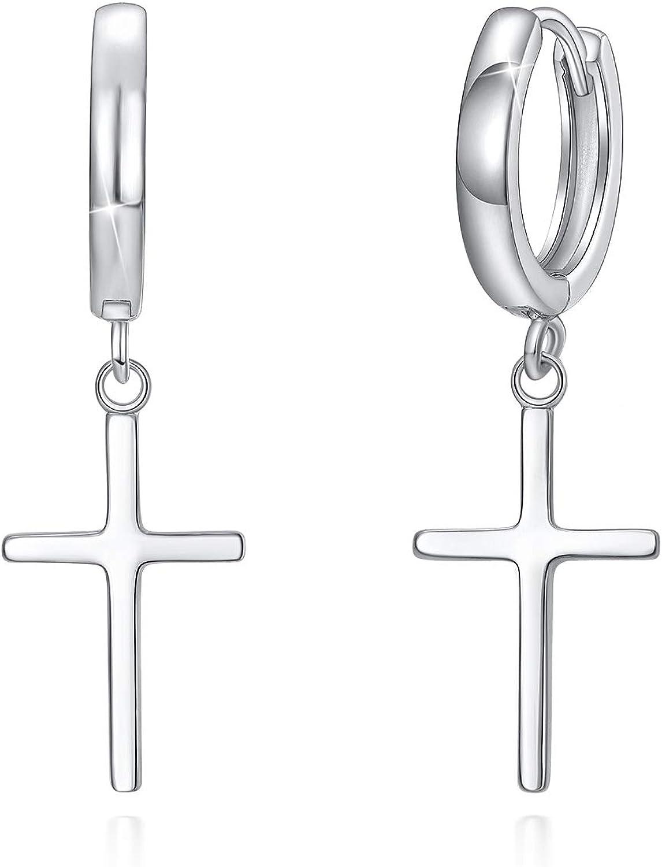 Regular dealer 925 Sterling Quality inspection Silver Cross Huggie Hoop Earrings Minimalist