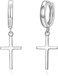 cross earrings, RVS earrings Stainless steel click earings with cross charm