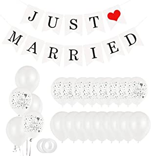 Just Married Party Decoration, 30 Ballons Blancs, 11 Ballons Juste Mariés,Banderole Mariage Décoration Guirlande, Ballons ...