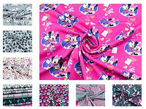 Disney-Minnie Mouse-Stoff auf Baumwoll-Jersey in pink aus 95% Baumwolle und mit 200g/m² als Stoff-Meterware ab 25 cm