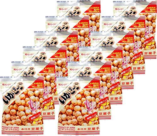 Kasugai Squid Pea Snack (Ika Peana) Net Wt. 2.18oz/62g (12 Pack)
