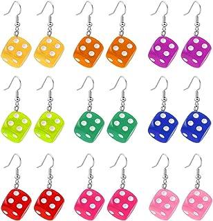 Generico moregirl Kit di Orecchini Pendenti con 9 Dadi Divertenti a Colori Cubo Acrilico Orecchini con Dadi cubici Colorati