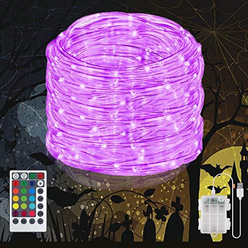 LED Schlauch außen mit Fernbedienung, 16 Farben 132 Modi 10m 100 LEDs Wasserdicht Lichterschlauch USB & Batteriebatrieben für Deck, Schlafzimmer, Garten, Zaun, Dach, Pool, Hochzeit, Party Deko