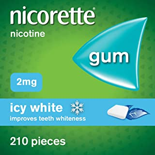 Nicorette Gum - Icy White, 2 mg, 210 Pieces – Also Whitens Teeth – Stop Smoking Aid