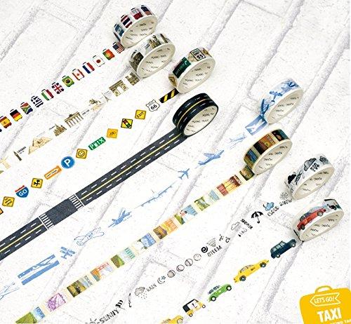 Freischneider 8Rollen Washi Tape Set Kreppband Masker für Notebook, DIY Basteln und Geschenke Deko Tape Notebook Klebeband 1,5cm Taxi, Flugzeuge, Label, Gepäck, Zeichen, Wetter