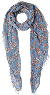 Chan Luu Palace Blue Painterly Floral Cashmere And Silk Scarf Wrap Shawl