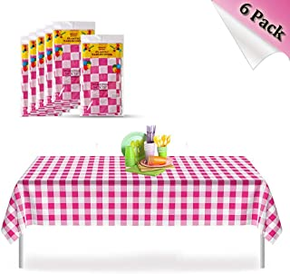 Pink Checkered Gingham 6 Pack Premium Disposable Plastic Picnic Tablecloth 54 Inch. x 72 Inch. Rectangle Table Cover, Indoor or Outdoor Parties Birthdays Weddings Christmas