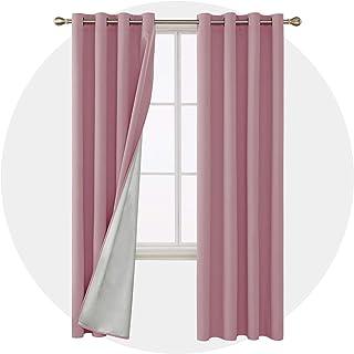 Deconovo Cortinas Opacas para Sala de Estar y Dormitorio con Ojales Aislamiento Térmico 2 Piezas 117 x 229 cm Rosa