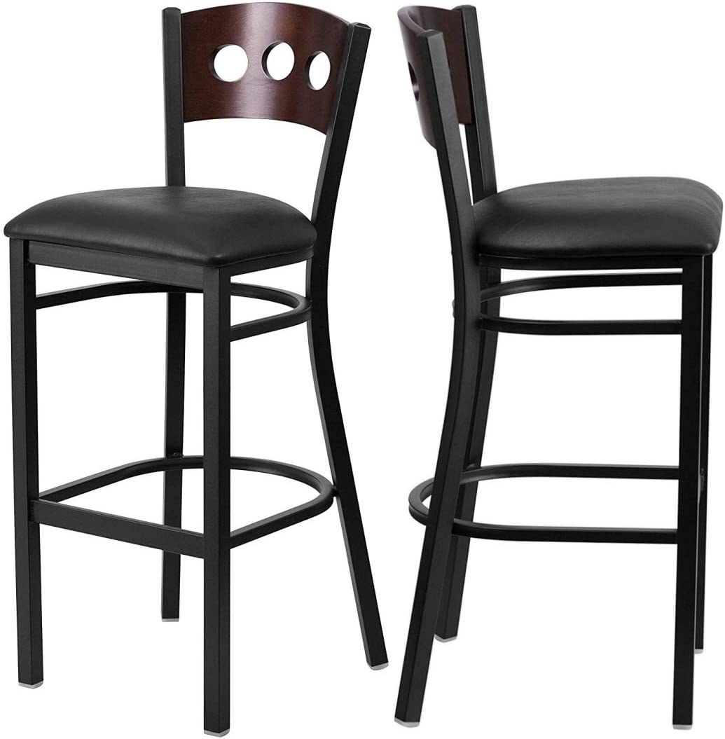 Set Max 54% OFF of Sale special price 4 Metal Dining Bar Stools Wood Walnut Back Circle Desi 3