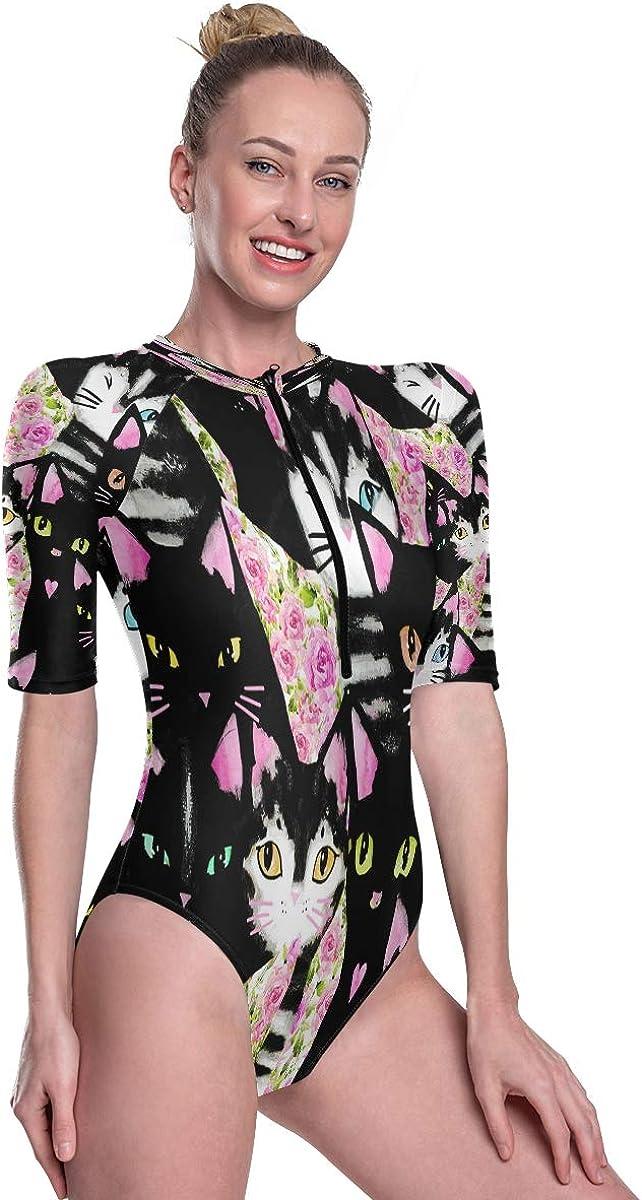 SLHFPX Womens Zip Up Printed Short Sleeve 1 Piece Rash Guard Swimsuit Pink Rose Flower Black Cat Kitten Swimwear