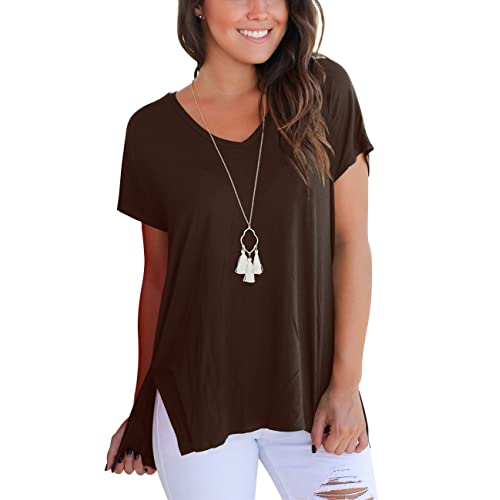 2857a2d6b62 Aokosor Women s Short Sleeve High Low Loose T Shirt Basic Tee Tops with  Side Split