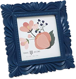 Isaac Jacobs 4x4 Navy Wave Textured Hand-Crafted Resin Picture Frame with Easel & Hook for Tabletop & Wall Display, Decorative Swirl Design Home Décor, Photo Gallery, Art, More (4x4, Navy)