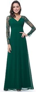 Women's Elegant V-Neck Long Sleeve Evening Party Dress 08692
