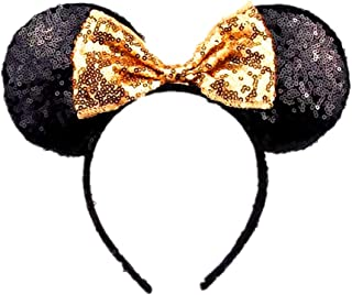 WLFY Mickey Mouse Minnie Mouse Sequin Ears Headbands Butterfly Glitter Hairband (Black gold)