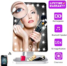 Hansong Makeup Mirror with Lights and Bluetooth,Vanity Mirror with 20 LED, Adjustable Brightness, Detachable 10x Magnification,Girl Lighted Up Cosmetic Mirror, Rechargeable (White)