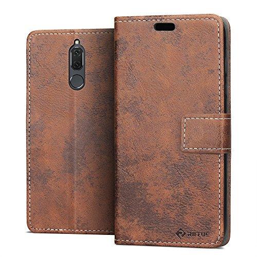 RIFFUE Huawei Mate 10 Lite Hülle, Retro Handyhülle Vintage PU Leder + TPU Case Tasche Cover Schutzhülle Huawei Mate 10 Lite/G10 (5,9 Zoll) mit Kickstand & Card Slots - Braun