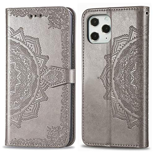 Compatible with Apple iPhone XR Wallet Case 6.1' Phone 2018 Release,Luxurious 3D Flower Folio Flip Magnetic Closure,Faux Leather with Kickstand Card Holders Folding Stand Protective Cover -Grey