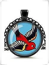 no see long time Swallow Tattoo Necklace, Retro Glass Cameo Pendant, Rockabilly Jewellery, Alternative Jewelry