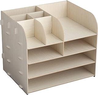 Organisateur de bureau en bois, Casier de bureau à domicile de bricolage, étagère de bureau