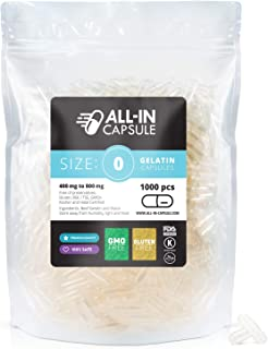 ALL-IN Capsule - 1000 Count Clear Empty Gelatin Capsules Size 0 - Compatible with Capsule Filling Machine - Fillable with Powders of Your Choice