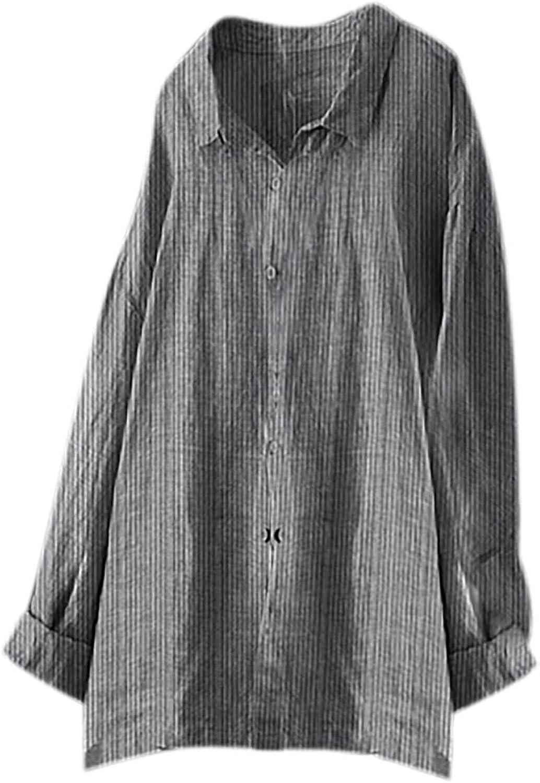 Womens Long Sleeve Tops, Women's Loose Button Stripe Lapel Long Sleeves T-Shirt Blouse Tops