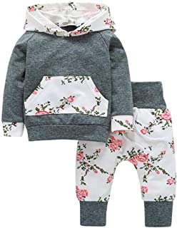 Weixinbuy Baby Girls' Floral Hooded Tops + Pants Outfits 2PCS Clothes Set