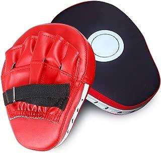 SUNMALL 2pcs MMA Boxing Mitts Focus Punch Pad PU Leather Punching Kicking Palm Pads Taekwondo Training Boxing Target Pad Karate Muay Thai Training Gloves with Adjustable Strap