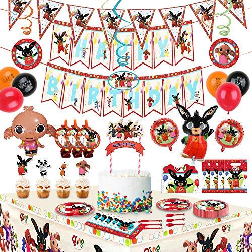 Bings Bunny Birthday Bings Forniture per feste per bambini,decorazioni per feste incluse Bings Bunny Ballons, gagliardetti, Cake Topper, biglietti d invito, tovaglia, stoviglie, tovaglioli (200 pezzi)