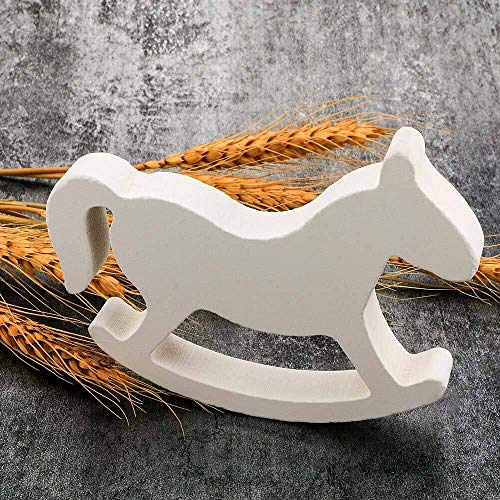 Figuritas decorativas Figurines miniaturas de madera blanca de mecedora caballo de Troya boda del...