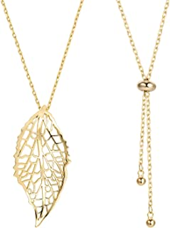 Leaf Long Pendant Necklace Handmade Trendy Filigree Bohemian Jewelry for Women ¡­