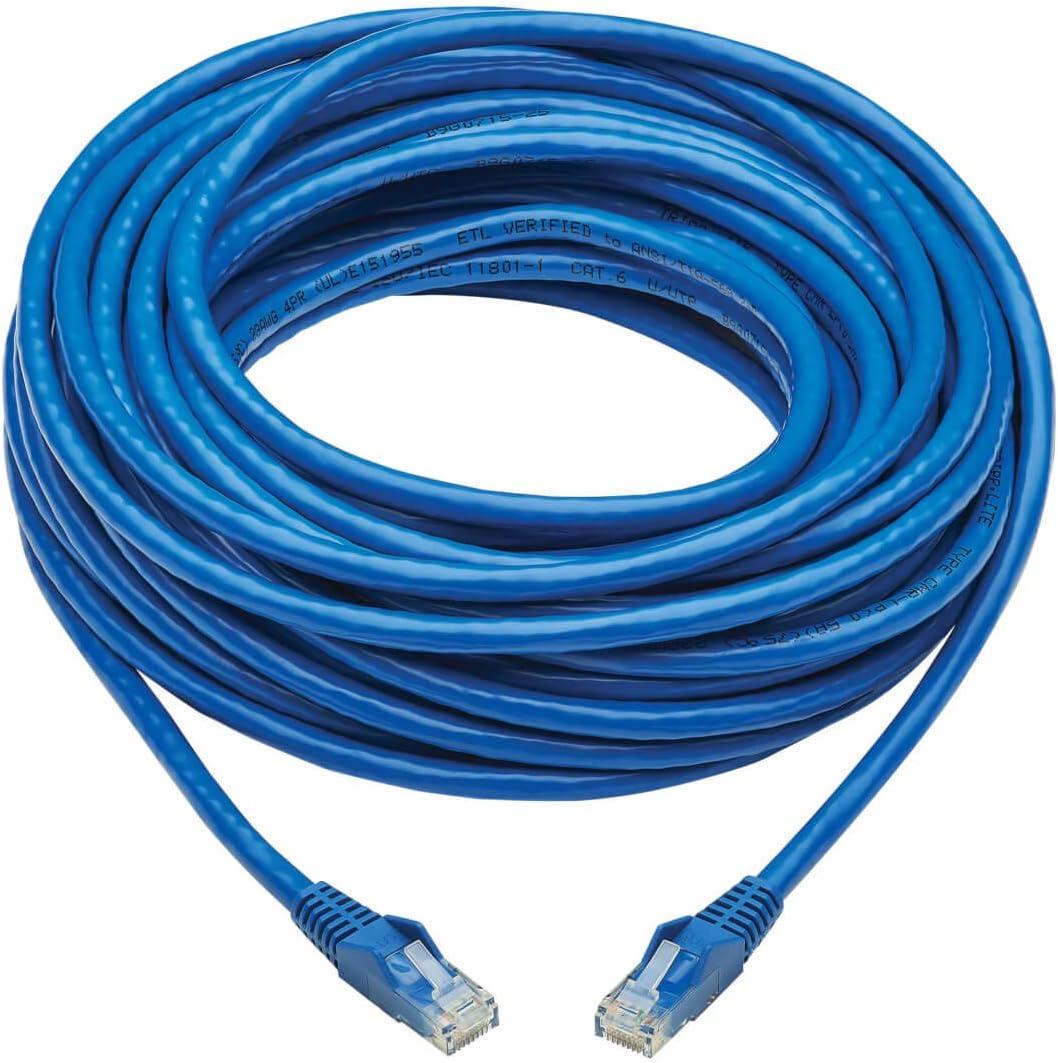 Tripp Lite Cat6 Ethernet Cable, RJ45 M/M Gigabit, Snagless, Molded, UTP, PoE, CMR-LP Patch Cable, 50 ft. Blue (N201P-050-BL)