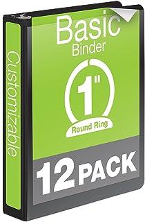 Wilson Jones 1 Inch 3 Ring Binder, Basic Round Ring View Binder, Black, 12 Pack (W362-14BPK)