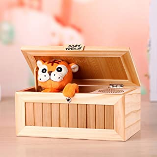 DSstyles Wooden Useless Box Leave Me Alone Box Most Useless Machine Don't Touch Tiger Toy Gift with Sound