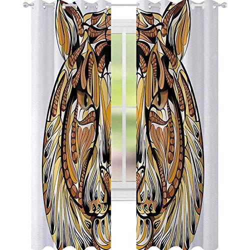 YUAZHOQI - Cortina opaca para ventana, diseño de cabeza de león con plumas en su melena, diseño nativo americano, para dormitorio de niños, 132 x 241 cm, color amarillo, marrón y blanco