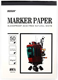 Premium 50 Sheets Sketch Marker Paper Pad, Bleedproof Artist Drawing Paper, 9 x 12 Inch