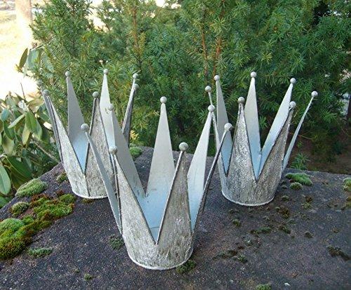 Deko-Kronen 3er -Set Windlicht Gartendeko Pflanztopf Eisen Antik 17 cm