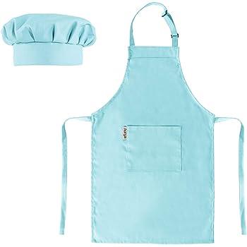 8 Pieces Kids Apron and Chef Hat Set Boys Girls Adjustable Cotton Child Medium