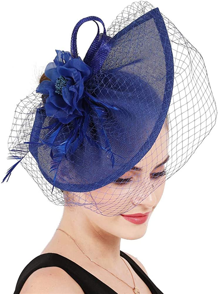 YONQUIL Elegant Millinery Mesh Bride Fascinator Hair Clips hat Nice Flower Feather SYF695