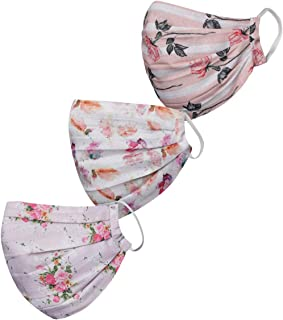 VASTRAMAY Unisex 2 -Ply Printed Reusable Anti-Pollution Comfortable Half Face, Ear Loop Masks - Pack of 3