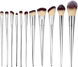 Makeup Brushes Set, 12Pcs Professional Blending Concealers Eyeshadow Powder Foundation Cosmetic Beauty Tools Silver