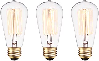 Globe Electric 31321 60W Vintage Edison S60 Squirrel Cage Incandescent Filament Light Bulb 3-Pack, E26 Base, 245 Lumens