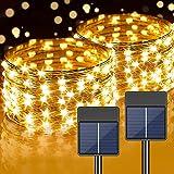 2 Pack Solar Lichterkette Aussen, 12M 120LEDs Lichterkette 8 Modi wasserdicht IP67 Dekoration Beleuchtung für Balkon, Garten, Baum, Hochzeit, Party (Warmweiß)