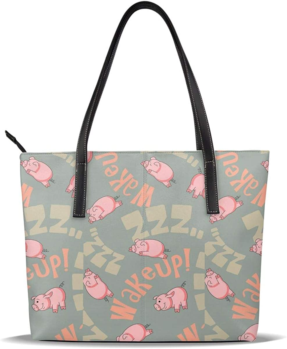 Wake Up Sleeping Pigs PU Casual Opening Wholesale large release sale Handbags Leather Printed Pattern
