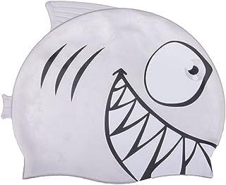 8477db882 Linda Touca Silicone Infantil Tubarão Azul Cinza Esporte Natação Piscina  Nadar Proteção Cabelo Promoção Liquidação Barato