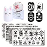 Born Pretty 4Pc Stamping Plate Geometry Design Rectangle Nail Art Image Template Cute Rabbit 3.5cm Silicone Nail Stamper with 2 Scrapers